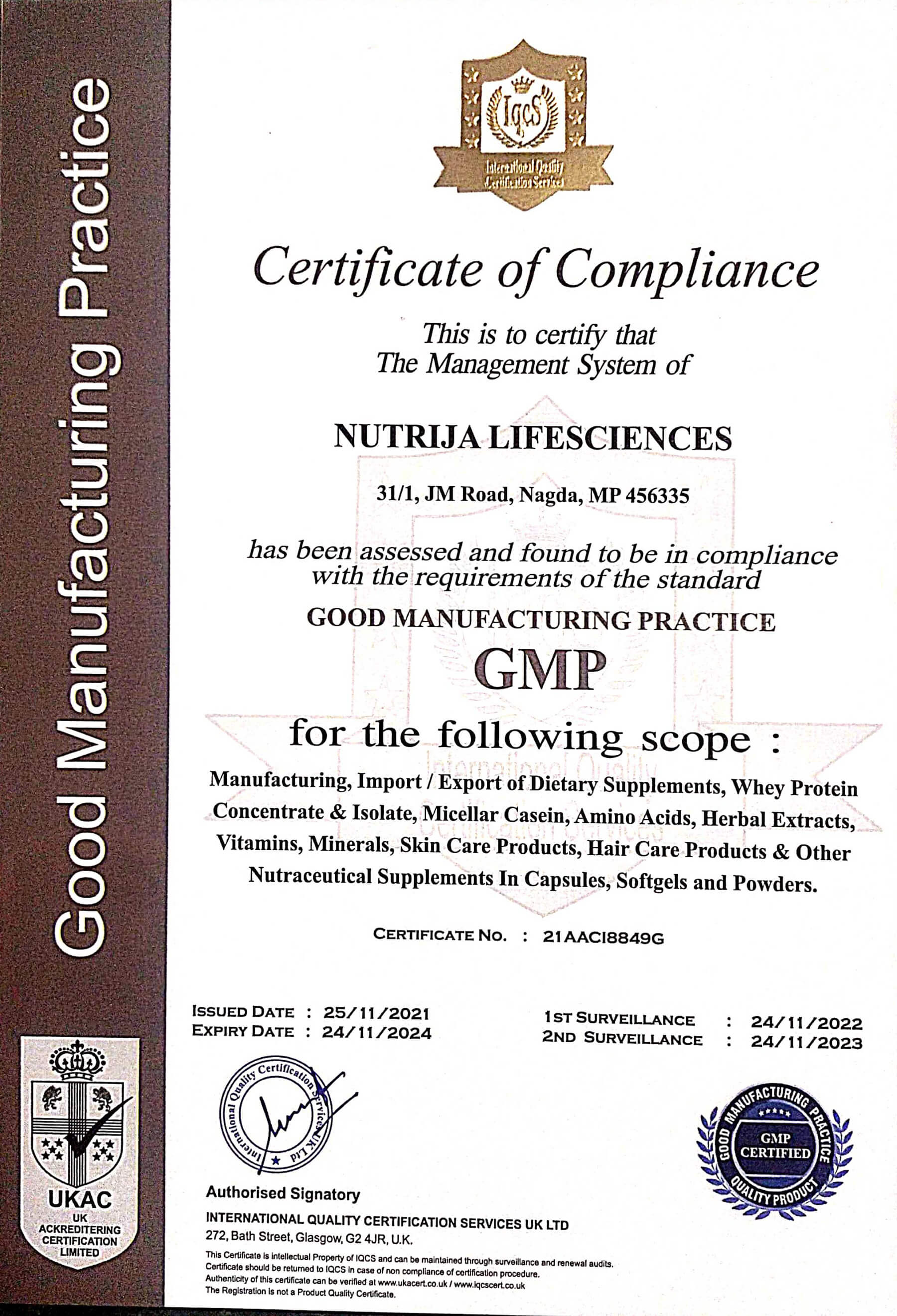 GMP CERTIFIED NUTRIJA LIFESCIENCES