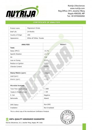 Certificate Of Analysis - Magnesium citrate