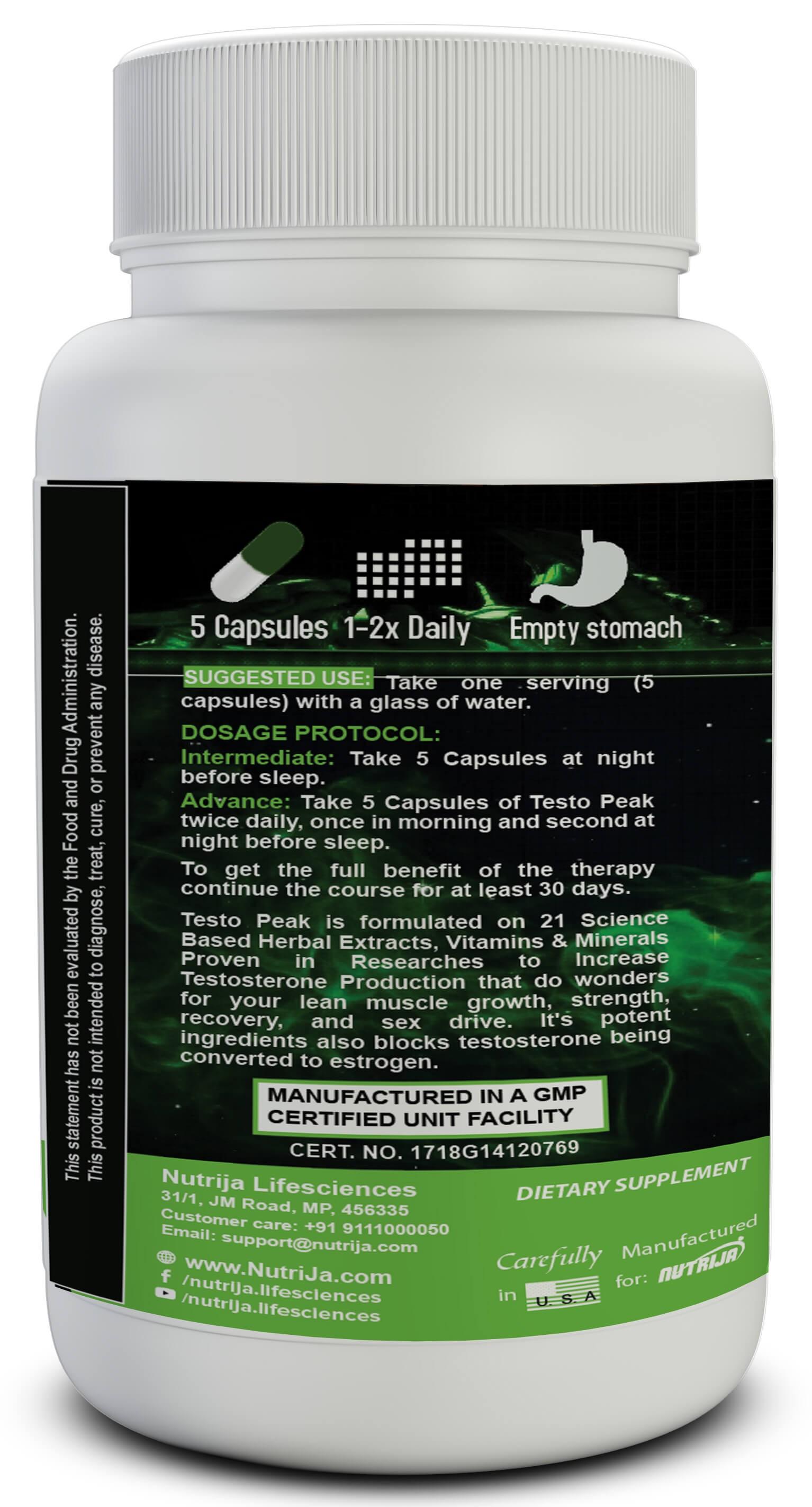 Testo Peak™ Testosterone Booster Supplement NutriJa™ Supplement Store
